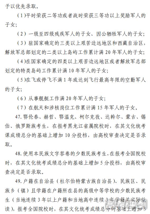 2021黑龙江高考加分照顾录取政策2
